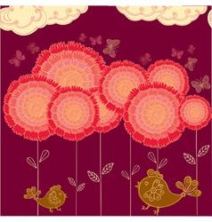 Flower field background vector