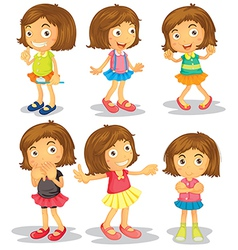 Brunette kids vector