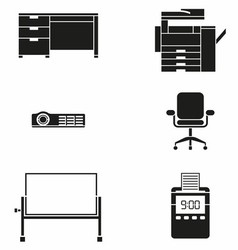 Office furniture and machine icon set vector
