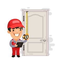 Carpenter measures the old door vector