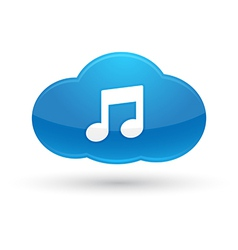 Cloud computing music icon vector