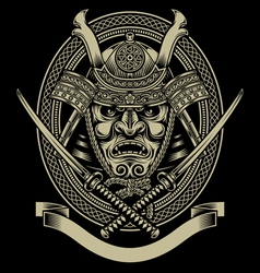Samurai warrior with katana sword vector
