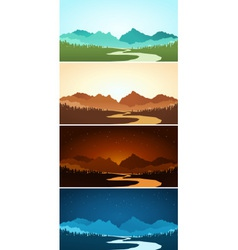 Mountain scenery in various color vector