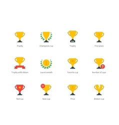Trophy and awards colored icons on white vector