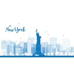Outline new york city skyline with skyscrapers vector
