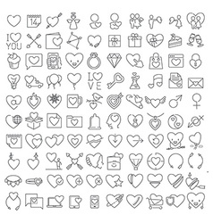 Valentines thin line icons set vector