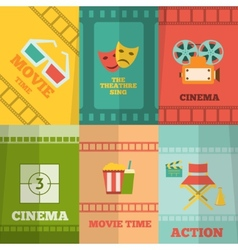Cinema icons composition poster print vector