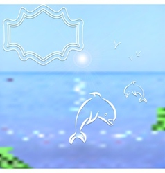 Travel background bright blurred sea and sky with vector