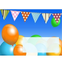 Balloons and bunting on blue sky with message vector