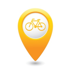 Bicycle icon on map pointer yellow vector