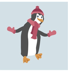 Funny penguin wearing winter clothes vector