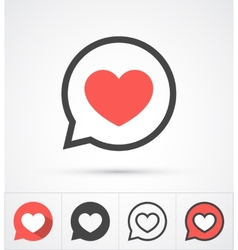 Heart in speech bubble icon vector
