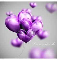 Bunch of violet balloon hearts vector