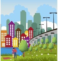 Modern metropolis city vector