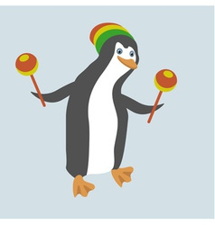 Funny dancing penguin with maracas vector