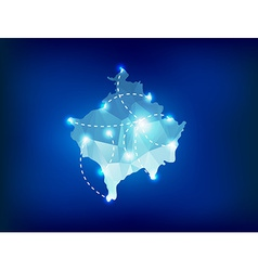 Kosovo country map polygonal with spot lights vector