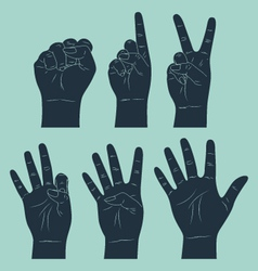 Set of counting hand vector