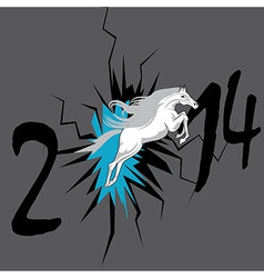 Horse 2014 year chinese symbol in hole vector