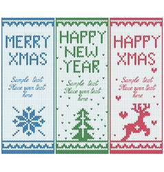 Set of knitted banners with copy space vector