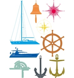 Marine and yachting symbols vector
