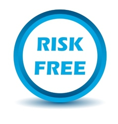 Blue risk free icon vector