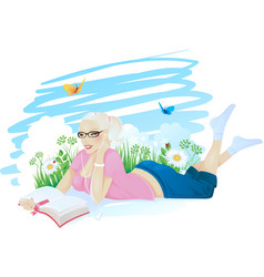 Reading girl ingrass vector