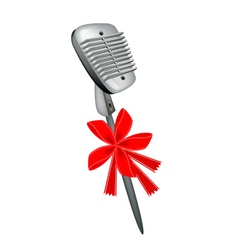 A beautiful retro microphone with red ribbon vector