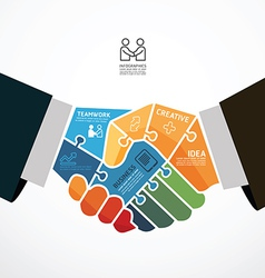 Businessman handshake jigsaw infographic template vector