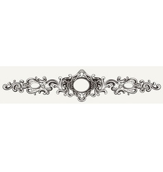 Wide antique ornate frame engraving vector