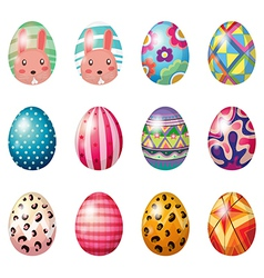 Easter eggs with colorful designs vector