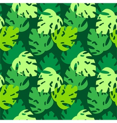 Monstera leaves pattern green vector