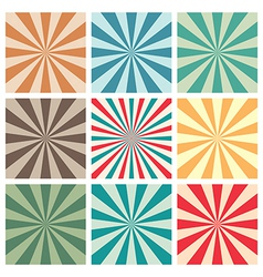Abstract retro sun burst background set vector
