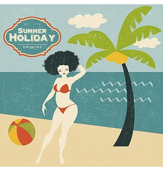 Retro woman on the beach vector