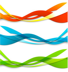 Set of abstract color wavy lines vector