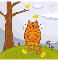 Beautiful kitty sitting on the autumn tree vector