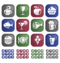 Food and drink buttons vector