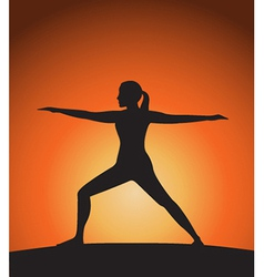 Woman in warrior pose vector