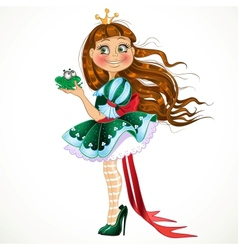 Little princess in green dress with frog vector