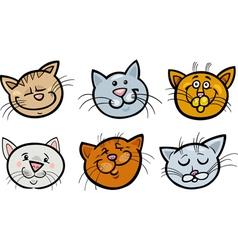 Cartoon funny cats heads set vector