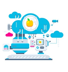 Industrial background of the cloud technolog vector