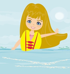 Happy girl in lifejacket vector