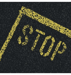 Stop sign on road vector