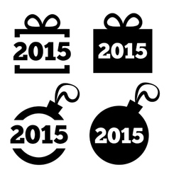 New year 2015 icons black icons set vector