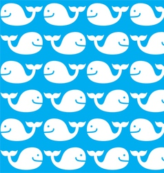 Whale seamless blue and white pattern vector