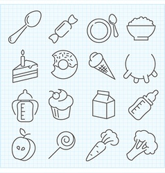 Baby food icons vector