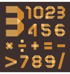 Font from yellowish scotch tape - arabic numerals vector