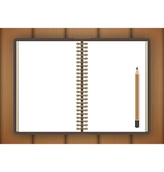 Blank realistic spiral notepad notebook and pencil vector