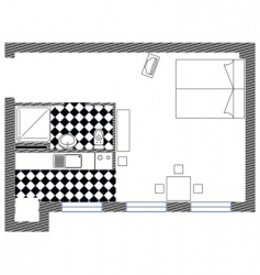 Bedroom sketch plan vector