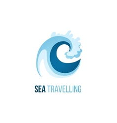 Sea trevelling logo template with wave vector