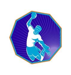 Handball player jump aiming shot vector